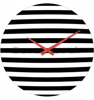Glass wall clock - Black and White Stripes