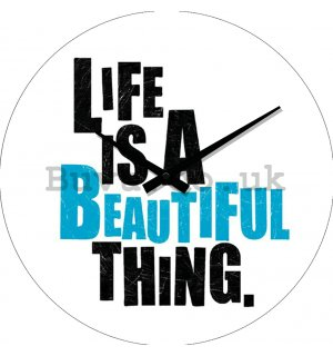 Glass wall clock - Life is a Beautiful Thing