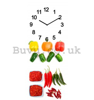 Glass wall clock - Vegetables and Spices