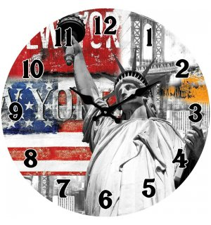 Glass wall clock - Statue of Liberty