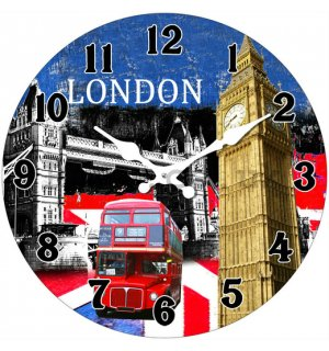 Glass wall clock - London (2)
