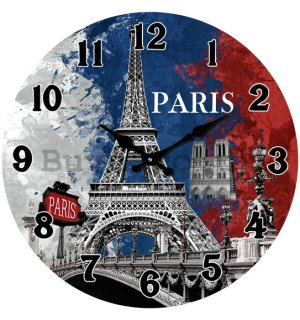 Glass wall clock - Paris