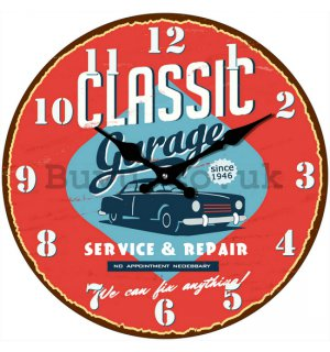 Glass wall clock - Classic Garage