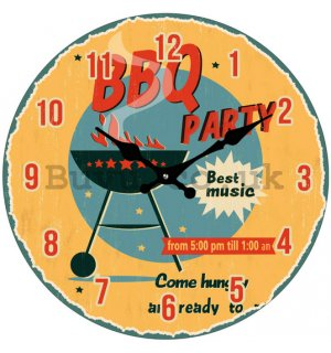 Glass wall clock - BBQ Party