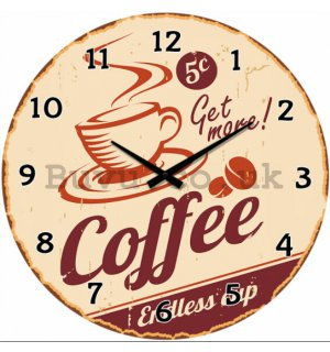 Glass wall clock - (Coffee Endless Cup)