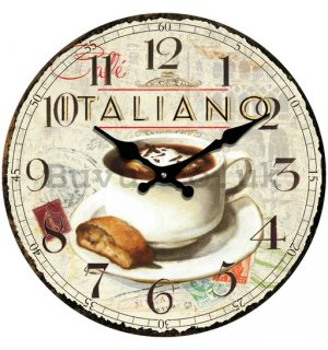 Glass wall clock - Cafe Italiano