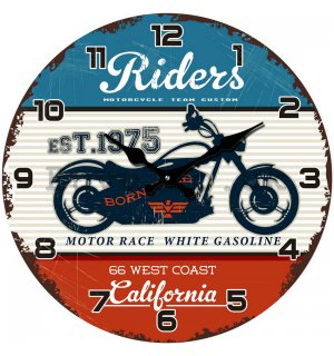 Glass wall clock - Riders (motorcycle team custom)