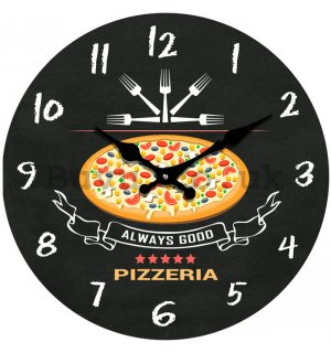Glass wall clock - Always Good Pizzeria