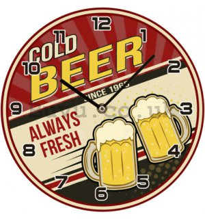 Glass wall clock - Cold Beer Since 1965