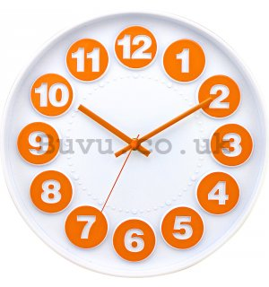 Wall clock: Numerical circles (white-orange) - 30 cm
