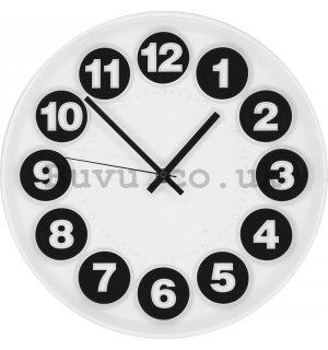 Wall clock: Numerical circles (black and white) - 30 cm