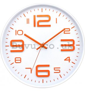 Wall clock: Orange numbers - 30 cm