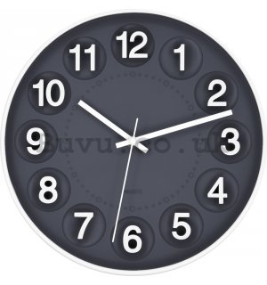 Wall clock: Number Circles (Gray) - 30 cm