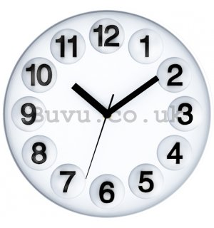 Wall clock: Number Circles (White) - 30 cm