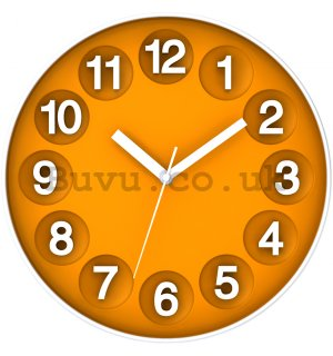 Wall clock: Numerical circles (orange) - 30 cm