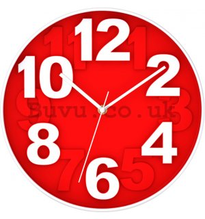 Wall clock: Red - 30 cm