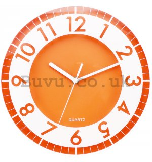 Wall clock: Modern (orange) - 30 cm
