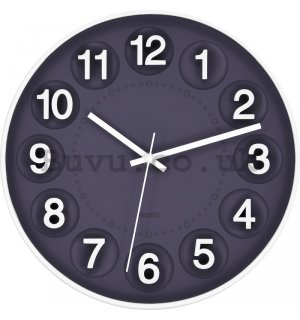 Wall clock: Numerous circles (gray-blue) - 25 cm