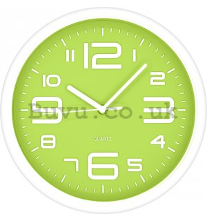 Wall clock: Green-white (2) - 40 cm