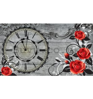 Wall Mural: Clock with roses - 184x254 cm