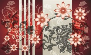 Wall Mural: Flowers (red patterns) - 184x254 cm