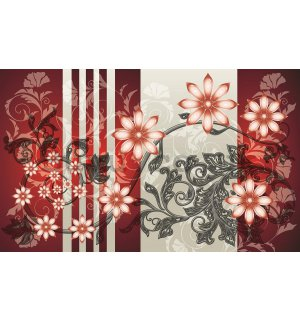 Wall Mural: Flowers (red patterns) - 254x368 cm