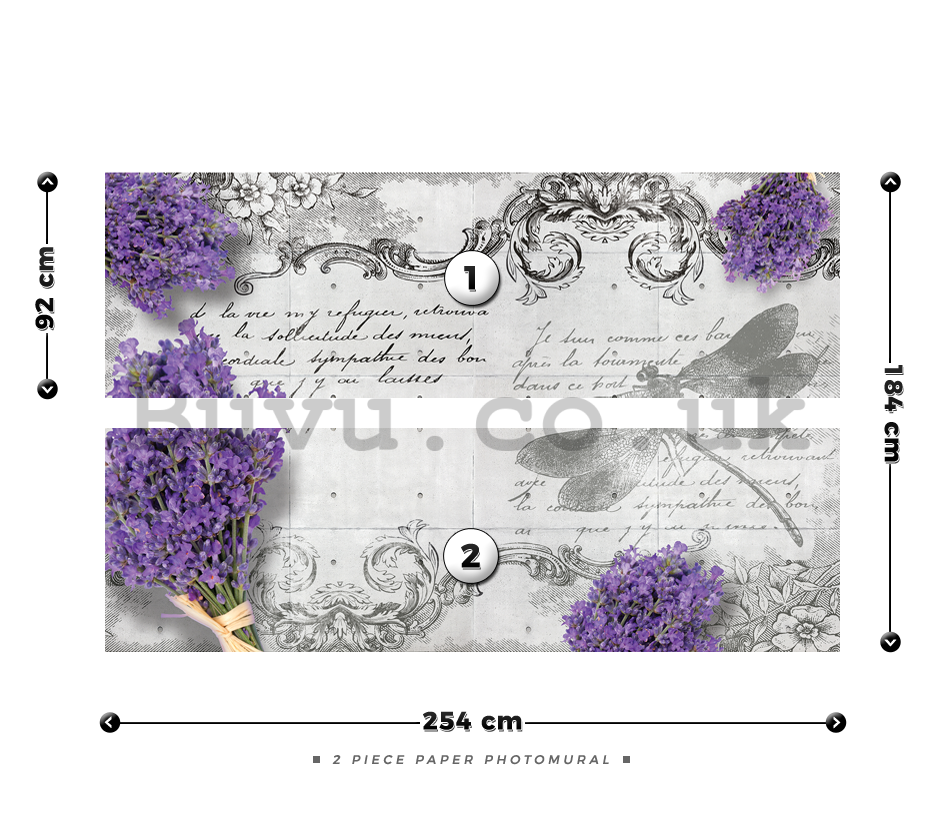 Wall Mural: Lavender and dragonfly - 184x254 cm