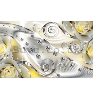 Wall Mural: Luxurious abstract (yellow) - 254x368 cm