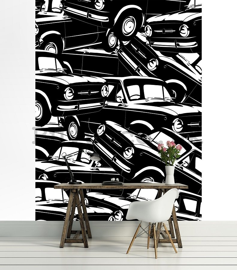 Wall Mural: Black and white cars (1) - 254x184 cm
