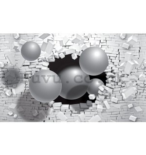 Wall Mural: Spheres in the wall - 254x368 cm