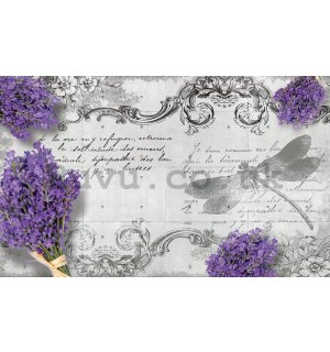 Wall Mural: Lavender and dragonfly - 254x368 cm