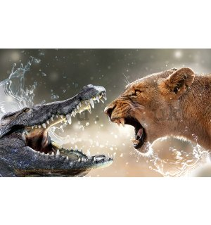Wall Mural: Lioness and Crocodile - 254x368 cm