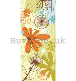 Wall Mural: Painted flowers - 211x91 cm