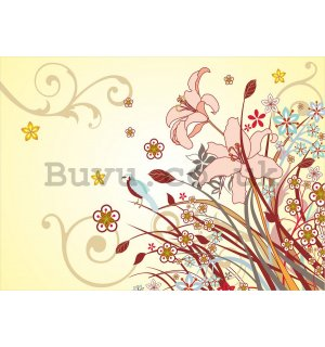 Wall Mural: Painted flowers (2) - 184x254 cm