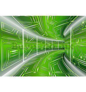 Wall Mural: 3D Sci-fi tunnel (green) - 184x254 cm