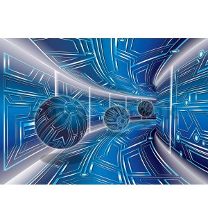 Wall Mural: 3D Sci-fi tunnel (blue) - 254x368 cm