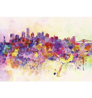 Wall Mural: Pastel city - 254x368 cm