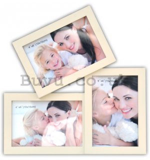 Photo frame - 3 windows (oriented), 10x15cm (white)