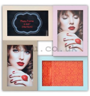 Photo frame - 4 windows, 10x15cm (multicolored)