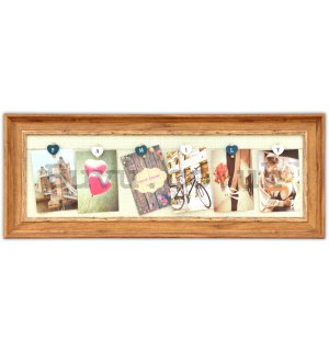 Photo frame - 6 windows (1 frame), 10x15cm (natural)