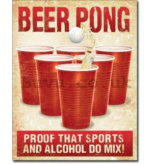 Metal sign - Beer Pong