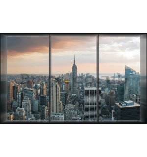 Wall mural vlies: View out of the window of Manhattan - 152,5 x 104 cm