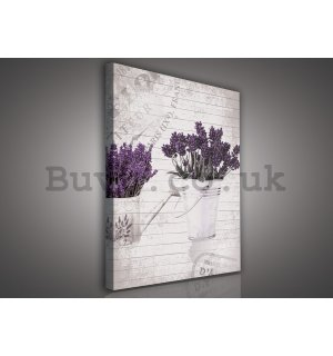 Painting on canvas: Bucket with lavender (1) - 75x100 cm