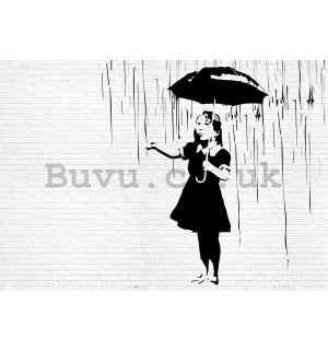 Painting on canvas: Girl in the rain (graffiti) - 75x100 cm