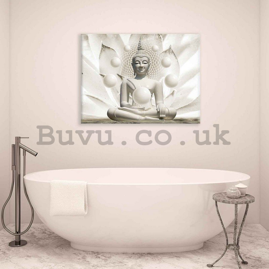 Painting on canvas: White Buddha - 75x100 cm