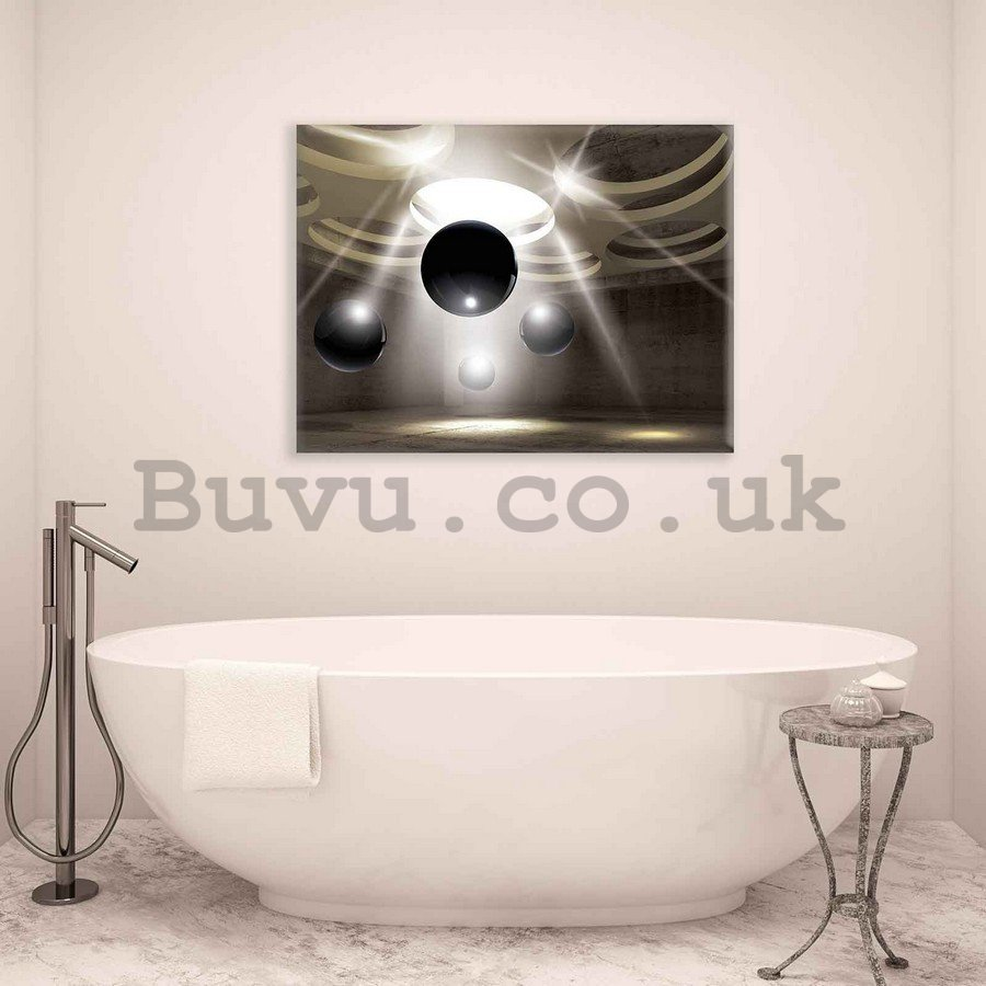 Painting on canvas: Silver spheres (1) - 75x100 cm