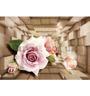 Painting on canvas: Wooden tunnel and rose - 75x100 cm