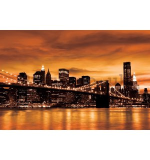 Painting on canvas: Brooklyn Bridge (orange) - 75x100 cm