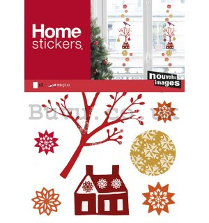 Christmas glass sticker - A little house and ornaments