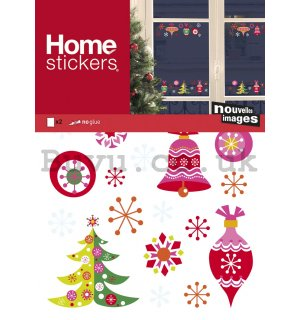 Christmas glass sticker - Colourful ornaments